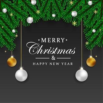 Kerst achtergrond ontwerp groen blad met kerst ornament en zwarte achtergrond