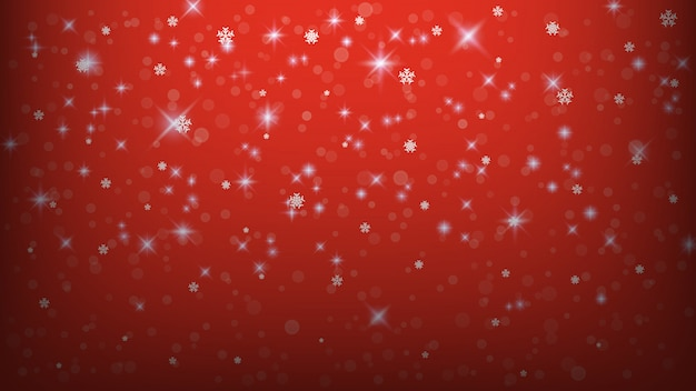 Kerst achtergrond sjabloon, abstracte lichten sneeuwvlok op rode achtergrond