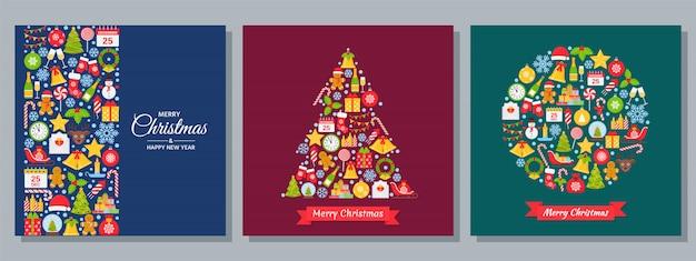 Kerst achtergrond. wenskaart in plat ontwerp instellen.