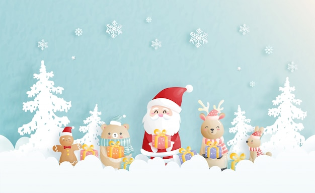 Kerst achtergrondvieringen met de kerstman en vrienden, kersttafereel in papierstijl