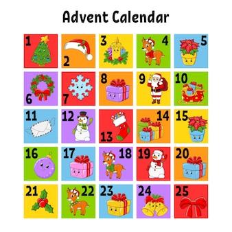 Kerst advent kalender kerstman hert sneeuwpop dennenboom sneeuwvlok cadeau baub