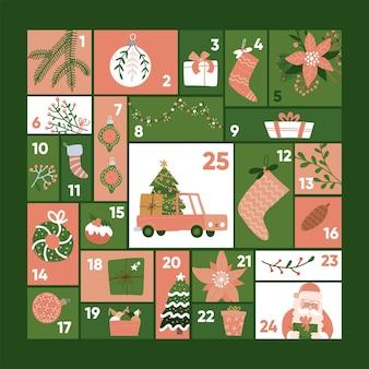 Kerst advent kalender sjabloon leuke vakantie seizoen decoratie xmas dag viering pastel rood en...