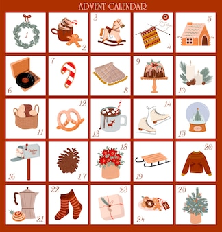 Kerst adventskalender december tot met schattige scandinavische illustraties leuke kerstversiering