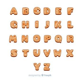 Kerst alfabet gemaakt van heerlijke peperkoek