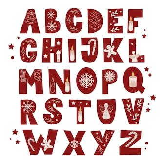 Kerst alfabet instellen. vector illustratie.