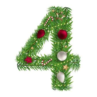 Kerst alfabet nummer 4 vectorillustratie