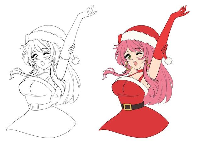 Kerst anime manga meisje geeuwen schattig gezicht en roze haar contour foto voor kleurboek