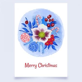 Kerst ansichtkaart met bloemen en snoep