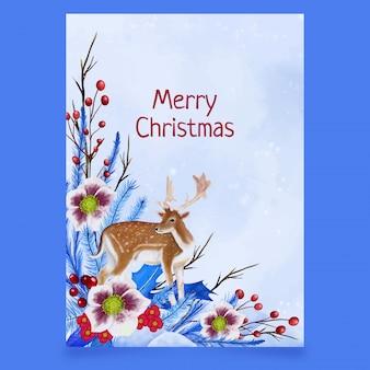 Kerst ansichtkaart met herten, bladeren en bloemen