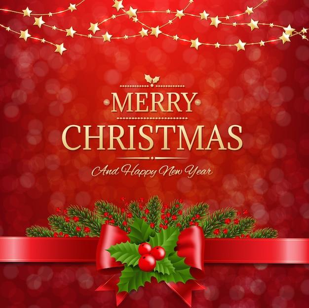 Kerst ansichtkaart met holly berry rode achtergrond illustratie