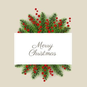 Kerst ansichtkaart met kerst hulst bes