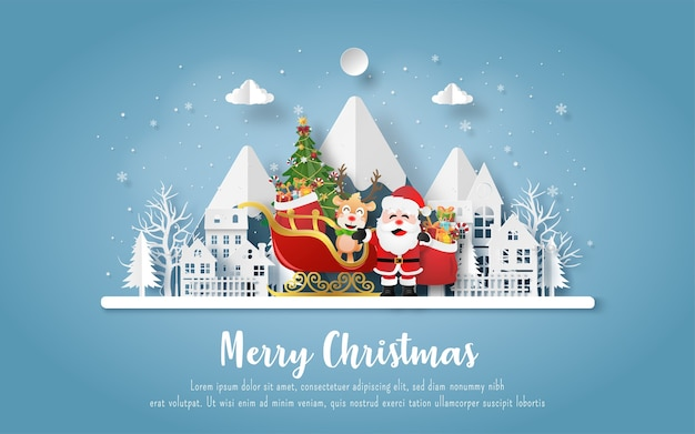 Kerst ansichtkaart met kerstman en rendieren