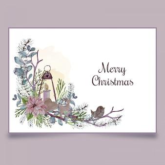 Kerst ansichtkaart met lantaarn, kaars en houten speelgoed