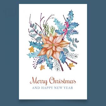 Kerst ansichtkaart met mooie oranje bloem en esdoorn