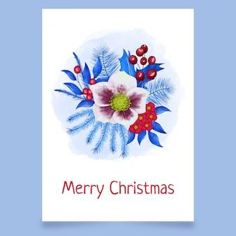 Kerst ansichtkaart met prachtige bloemen