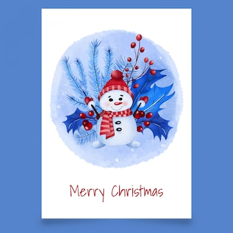 Kerst ansichtkaart met sneeuwpop, bladeren en planten van viburnum