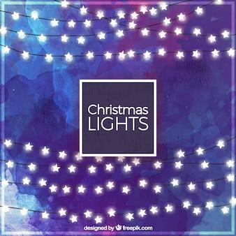 Kerst aquarel achtergrond met krans van sterren