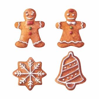 Kerst aquarel clipart set met peperkoek man en vrouw sneeuwvlok en jingle bell