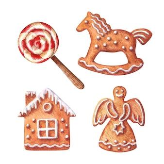 Kerst aquarel clipart set met peperkoeken en lolly vakantie bakkerij