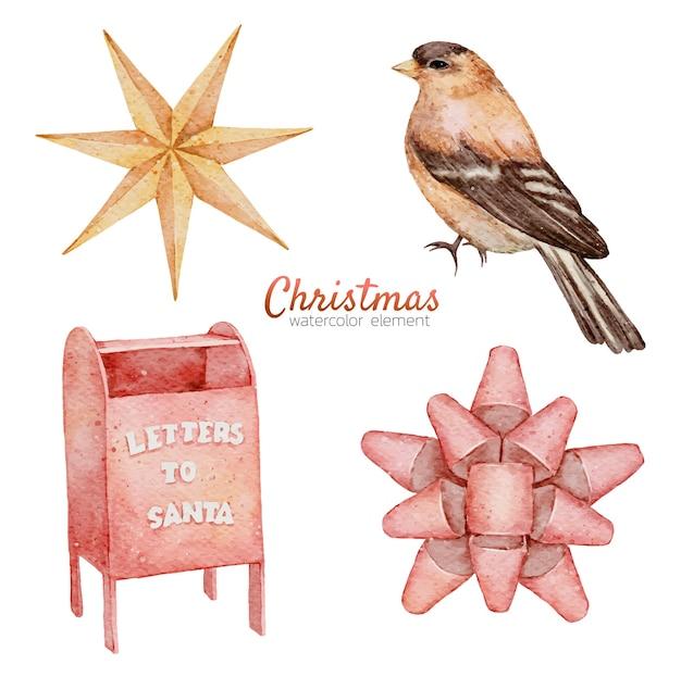 Kerst aquarel element hand schilderen