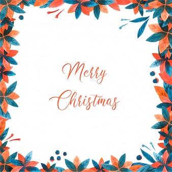 Kerst aquarel frame met poinsettia