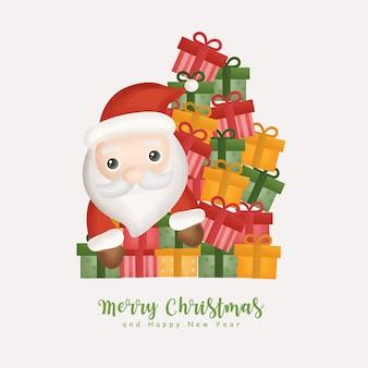 Kerst aquarel met kerst schattige kerstman en geschenkdozen voor wenskaarten, uitnodigingen, papier, verpakking.