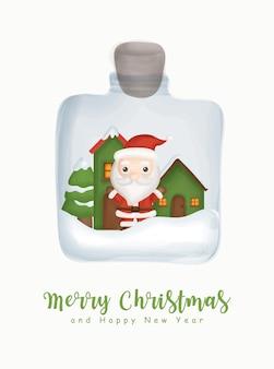 Kerst aquarel met schattige kerstman in een pot voor wenskaart nieuwjaar wenskaart.