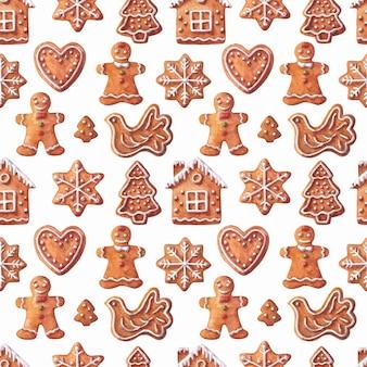 Kerst aquarel naadloos patroon met peperkoeken kerst bakkerij patroon