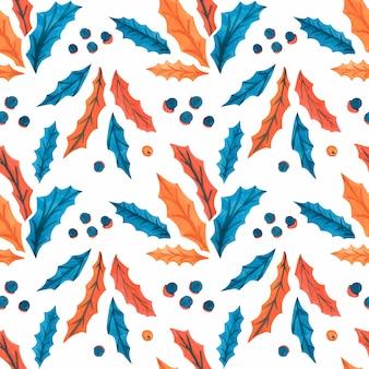 Kerst aquarel naadloze patronen met hulstbladeren en bessen