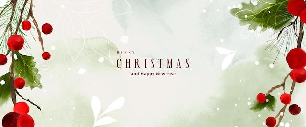 Kerst aquarel natuurlijke kunst achtergrond. hulstbladeren en takken op sneeuw die vallen met handgeschilderde aquarel. geschikt voor koptekstontwerp, banner, omslag, web, kaarten of wanddecoratie.