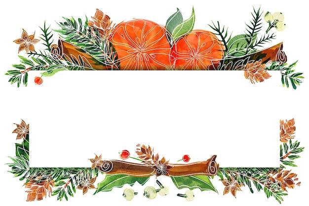 Kerst aquarel sinaasappelen en winter planten kaart. geschikt frame met ruimte voor tekst voor kerst- en nieuwjaarswensen en uitnodigingen