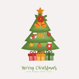 Kerst aquarel winter met kerstboom en kerst element voor wenskaarten, uitnodigingen, papier, verpakking,