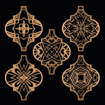 Kerst arabesk tegel ornament set