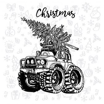 Kerst auto vintage schets met een kerstboom