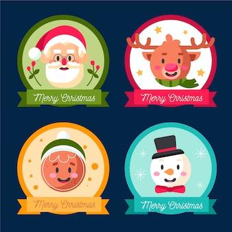 Kerst badge collectie in plat design