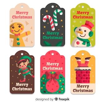 Kerst badge-collectie in plat ontwerp