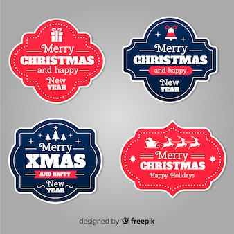 Kerst badge collectie platte ontwerpstijl