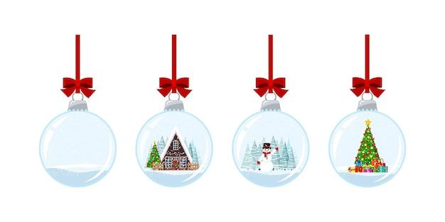Kerst bal set met sneeuw geïsoleerd op een witte achtergrond. hangende kristallen sneeuwbalbal met versierd huis, kerstboom met geschenken, sneeuwpop. vectorillustratie platte cartoon stijl wintervakantie.