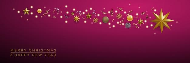 Kerst banner, decoraties met abstracte komeet en ster op paarse achtergrond