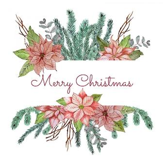 Kerst banner met bloemen en takken