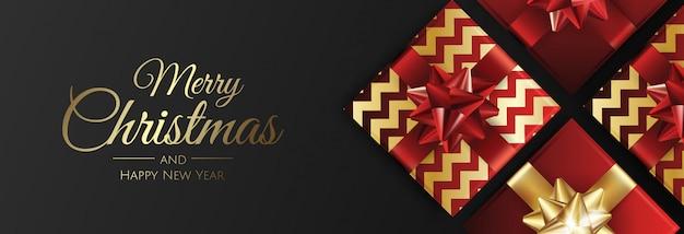 Kerst banner met geschenken merry christmas card