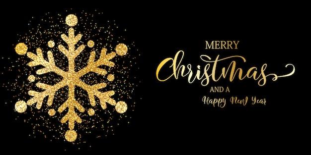 Kerst banner met glitter sneeuwvlok