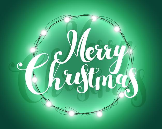 Kerst banner met krans en verlichting garland.
