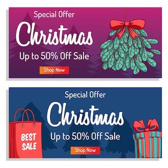 Kerst banner of poster om te winkelen verkoop of promo met kleurrijke