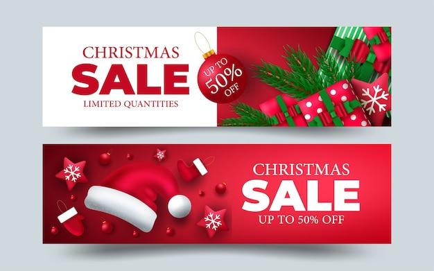 Kerst banner ontwerp set met kleurrijke achtergronden