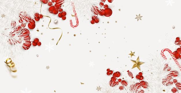 Kerst banner plat lag ontwerp met kerstversiering