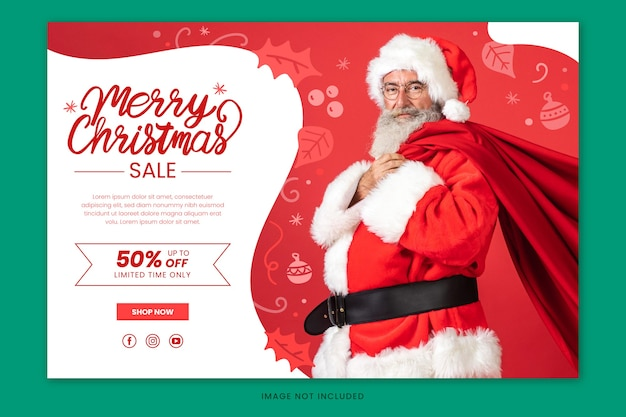 Kerst banner verkoop met hand getrokken belettering