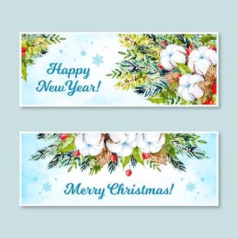 Kerst banners instellen aquarel stijl