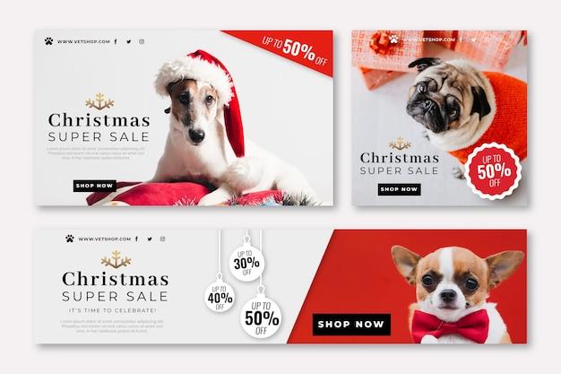 Kerst banners met foto set