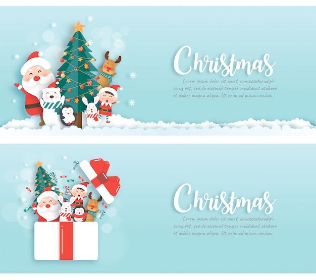 Kerst banners met santa claus en vrienden in papier knippen en ambachtelijke stijl.